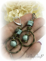 Boho Raku and Solid Brass Beaded Dangle Lever Back Earrings #854E,- Bead Dangle Design