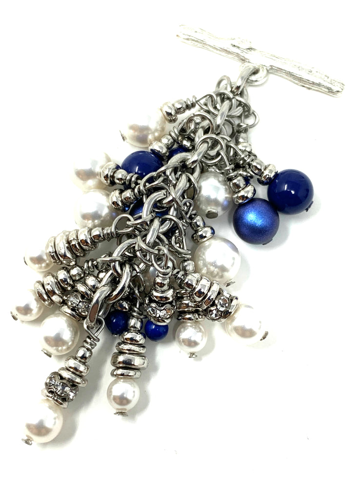 Blue and White Swarovski Pearl Beaded Cluster Dangle Pendant #2477D - Bead Dangle Design