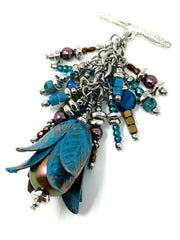 Patina Tulip Beaded Cluster Dangle Pendant #2481D - Bead Dangle Design