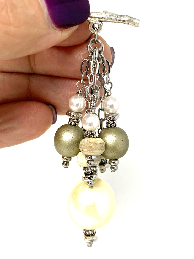 Textured Lampwork Glass and Pearl Beaded Cluster Dangle Pendant #2493D
