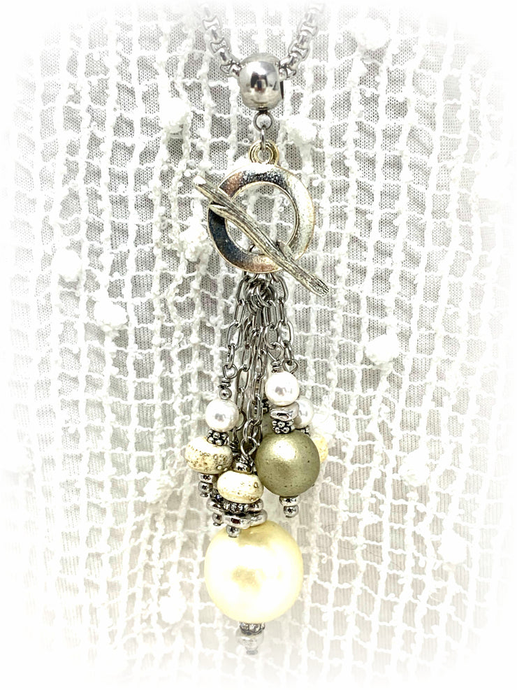 Textured Lampwork Glass and Pearl Beaded Cluster Dangle Pendant #2493D - Bead Dangle Design