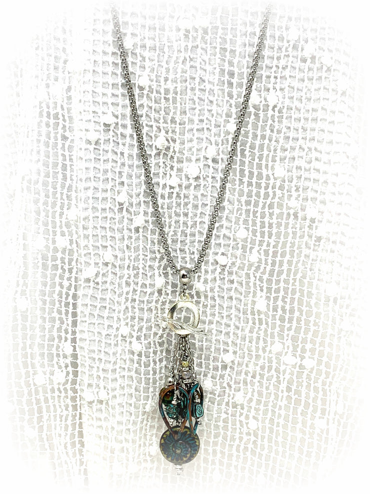 Czech Glass and Patina Beaded Cluster Dangle Pendant #2492D