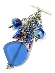 Pale Blue Sea Glass and Lampwork Glass Beaded Cluster Dangle Pendant #2490D - Bead Dangle Design