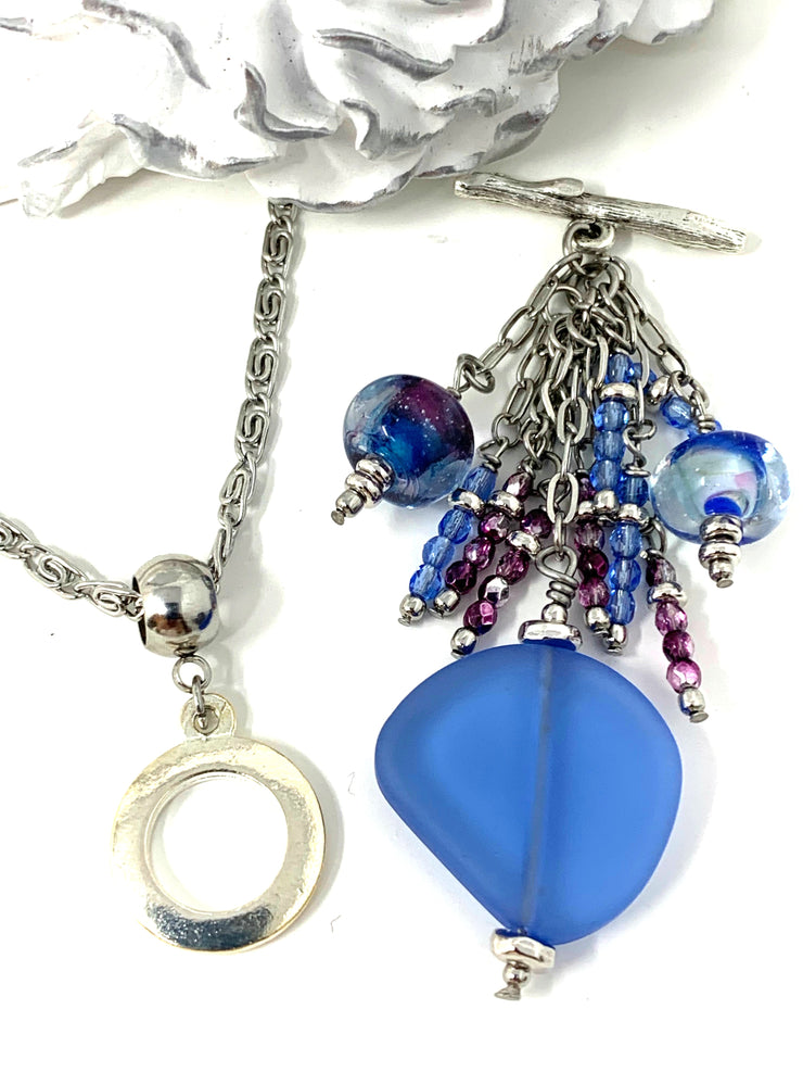 Pale Blue Sea Glass and Lampwork Glass Beaded Cluster Dangle Pendant #2490D
