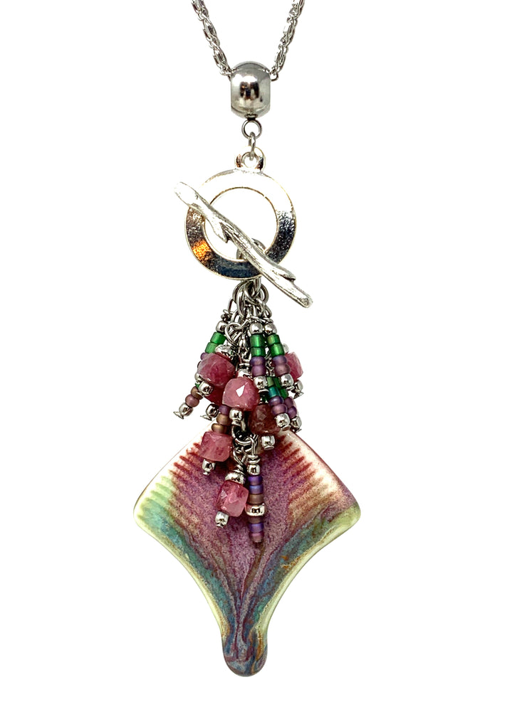 Porcelain Tourmaline and Seed Bead Cluster Dangle Pendant #2488D - Bead Dangle Design