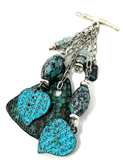 Patina Heart and Raku Beaded Cluster Dangle Pendant #2487D