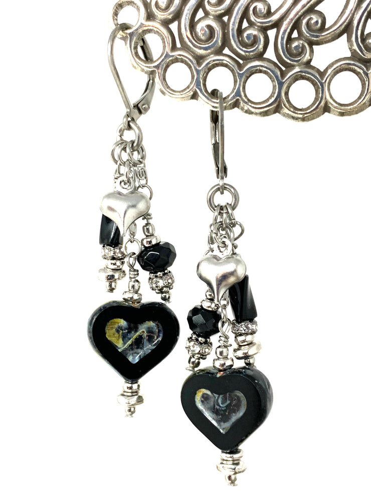 Czech Glass Heart and Black Onyx Lever Back Crystal Earrings #1064E - Bead Dangle Design