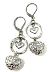 Crystal Filled Heart Lever Back Crystal Earrings #1065E - Bead Dangle Design