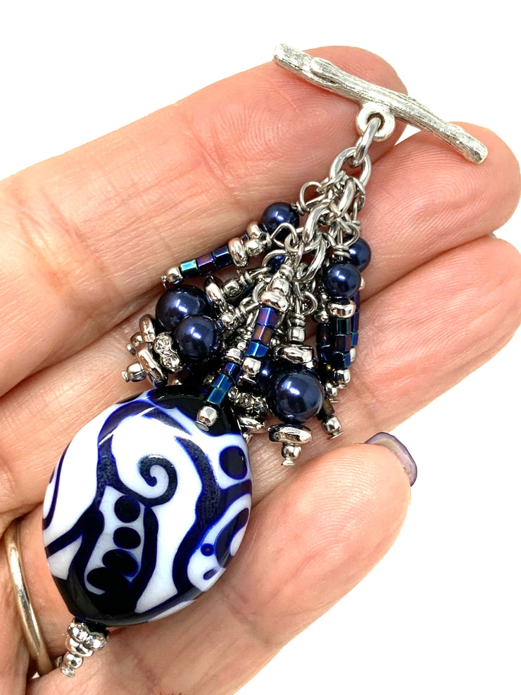Deep Royal Blue and White Lampwork Glass Beaded Cluster Dangle Pendant #2485D