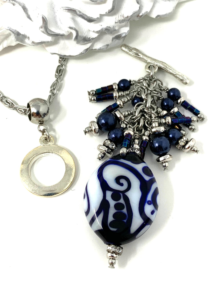 Deep Royal Blue and White Lampwork Glass Beaded Cluster Dangle Pendant #2485D - Bead Dangle Design