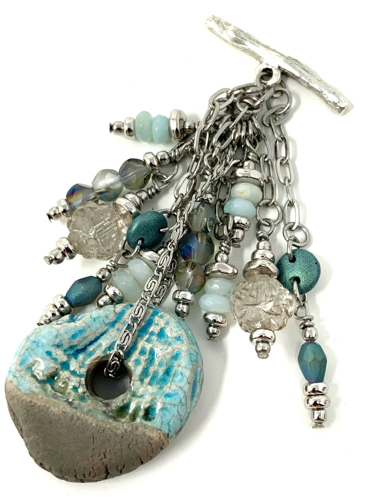 Gray and Turquoise Raku Beaded Cluster Dangle Pendant #2484D - Bead Dangle Design