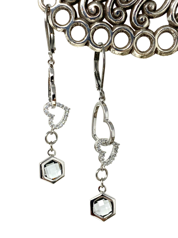 Falling Hearts and Smokey Quartz Lever Back Crystal Earrings #1068E - Bead Dangle Design