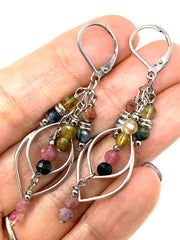 Cascading Tourmaline Gemstone Lever Back Crystal Earrings #1067E