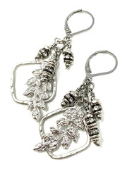 Lace Leaf and Crystal Lever Back Crystal Earrings #1066E