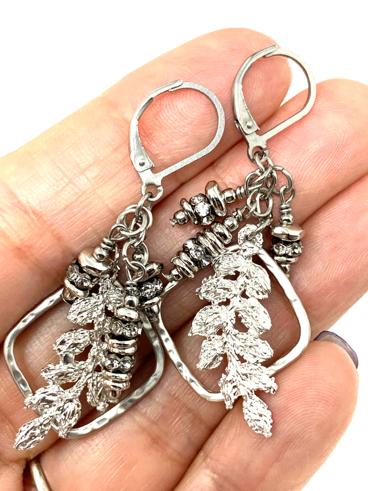 Lace Leaf and Crystal Lever Back Crystal Earrings #1066E - Bead Dangle Design