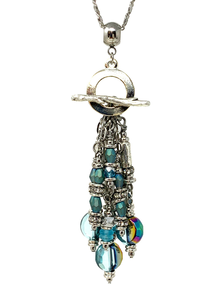 Czech Faceted Crystal Beaded Cluster Dangle Pendant #2496D - Bead Dangle Design