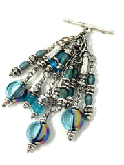 Czech Faceted Crystal Beaded Cluster Dangle Pendant #2496D