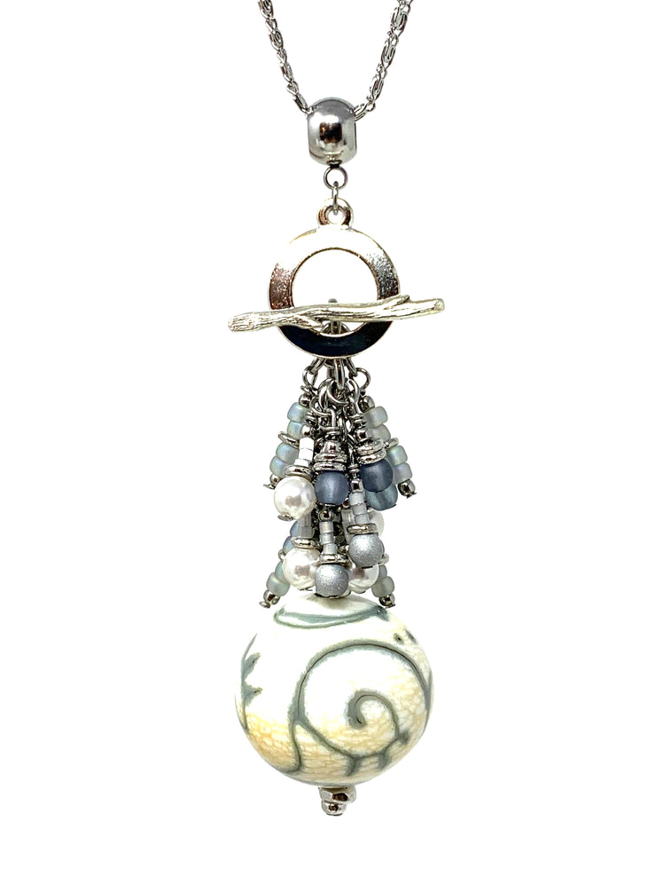 Handmade Lampwork Glass Swirl Swarovski Pearl Beaded Cluster Dangle Pendant #2497D