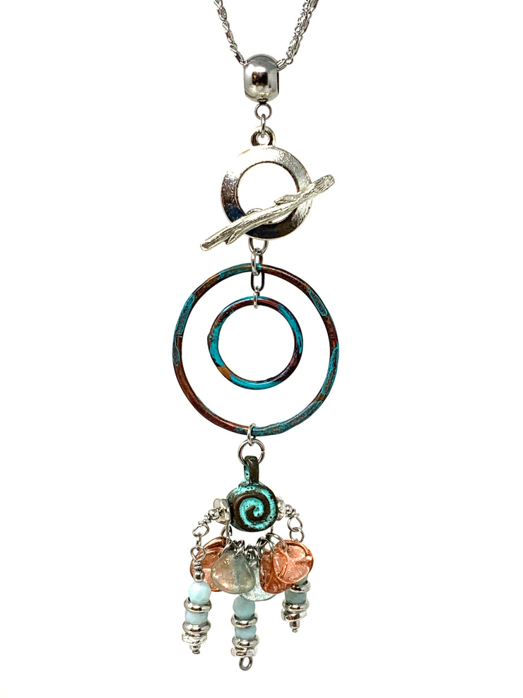 Boho Chic Patina Beaded Cluster Dangle Pendant #2491D