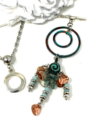 Boho Chic Patina Beaded Cluster Dangle Pendant #2491D - Bead Dangle Design