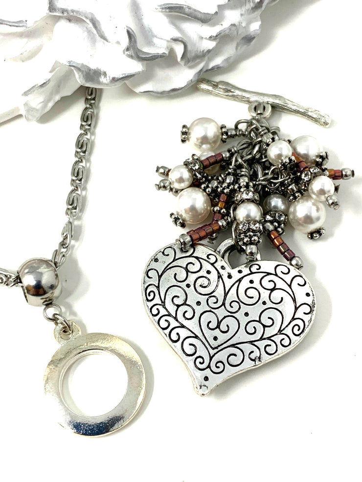 Filigree Heart and Swarovski Pearl Beaded Cluster Dangle Pendant #2500D