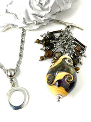 Earthy Lampwork Glass Beaded Cluster Dangle Pendant #2507D - Bead Dangle Design