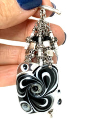 Black and White Lampwork Glass Swirl Beaded Cluster Dangle Pendant #2503D - Bead Dangle Design
