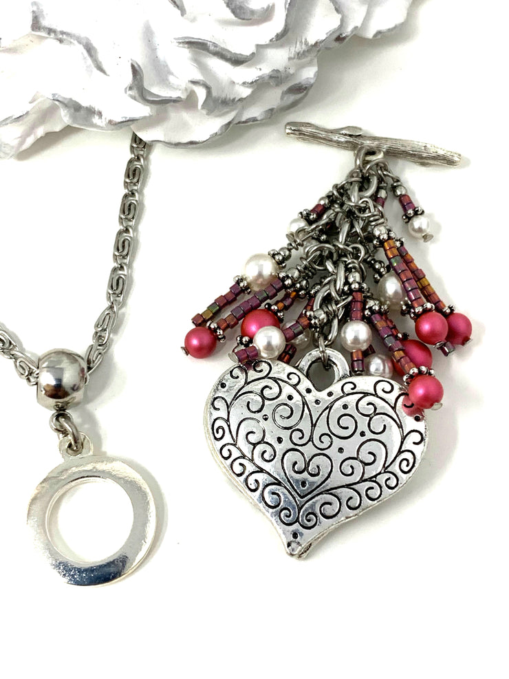 Pretty Pink and White Filigree Heart Beaded Cluster Dangle Pendant #2505D