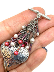 Pretty Pink and White Filigree Heart Beaded Cluster Dangle Pendant #2505D - Bead Dangle Design