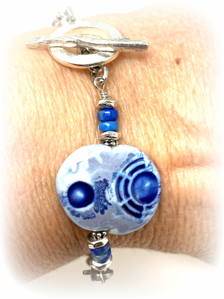 Handmade Polymer Clay and Lapis Boho Chic Interchangeable Bracelet Pendant #3003BC - Bead Dangle Design