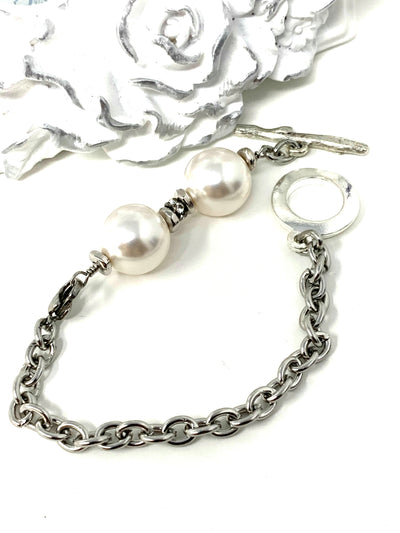 Swarovski Pearl and Crystal Interchangeable Bracelet Pendant #3007BC - Bead Dangle Design