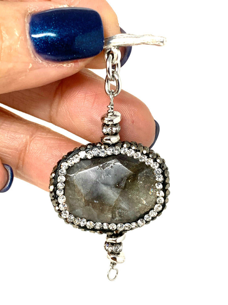 Pave' Labradorite Interchangeable Bracelet Pendant #3008BC - Bead Dangle Design