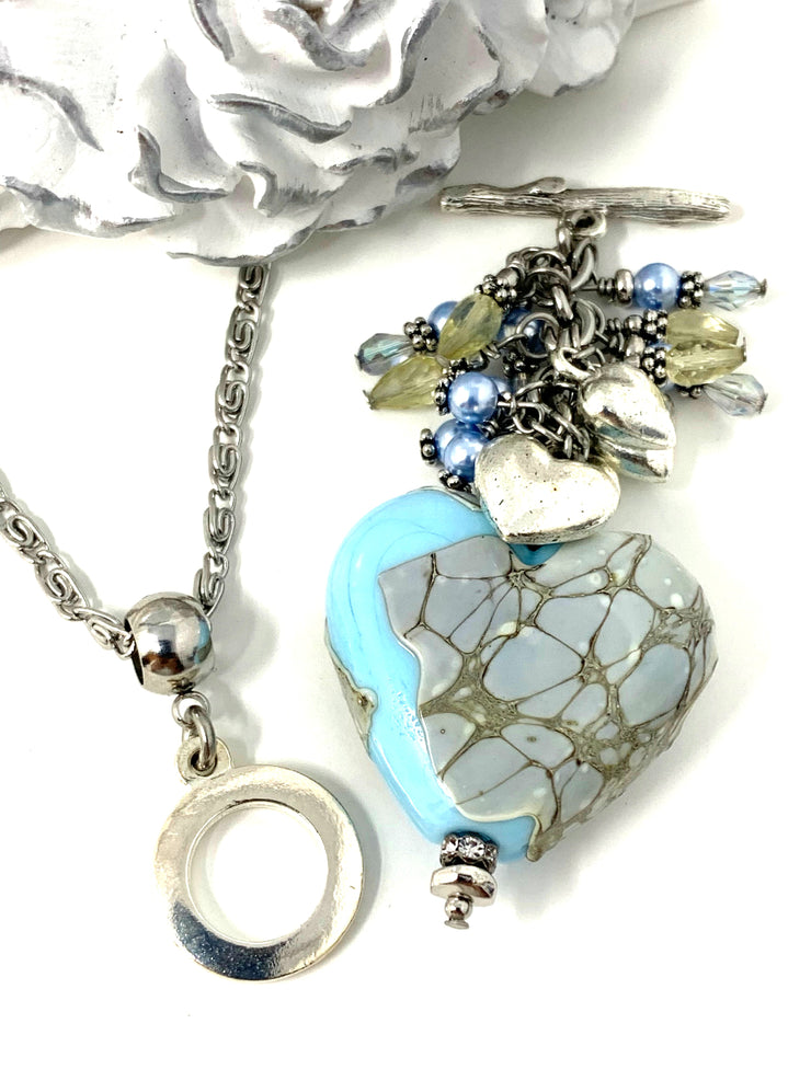 Handmade Lampwork Glass Puffed Heart Beaded Cluster Dangle Pendant #2512D