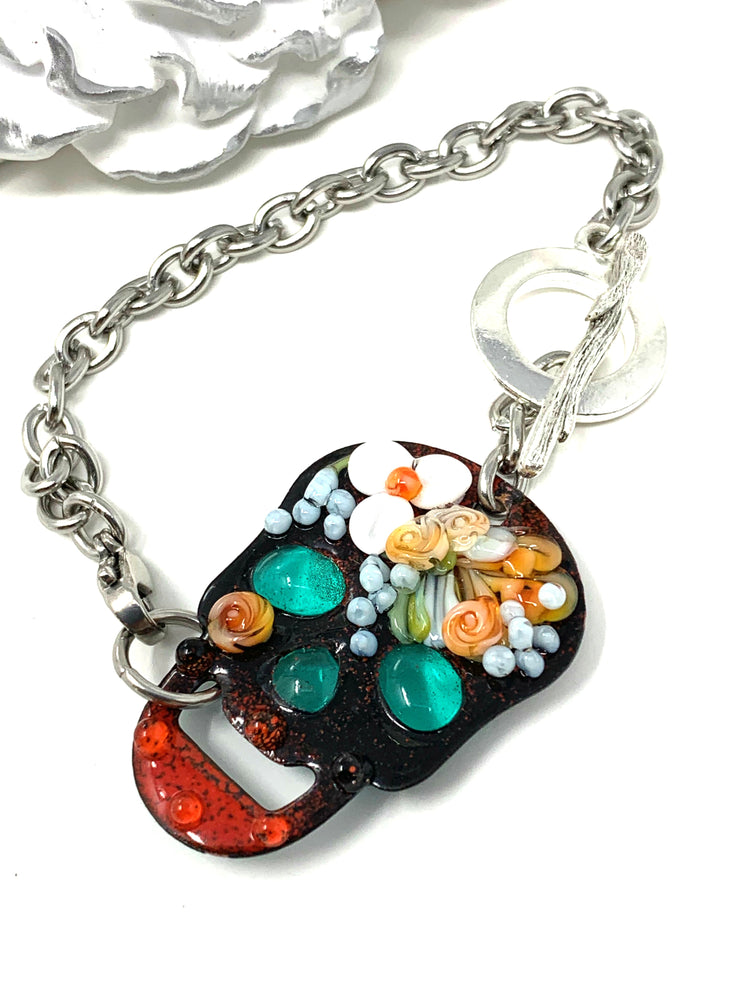 Hand Painted Floral Lampwork Glass Skeleton Interchangeable Bracelet Pendant #3012BC