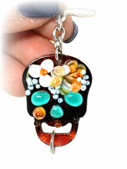 Hand Painted Floral Lampwork Glass Skeleton Interchangeable Bracelet Pendant #3012BC - Bead Dangle Design