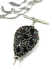 Black Pave' Gemstone Interchangeable Bracelet Pendant #3019BC