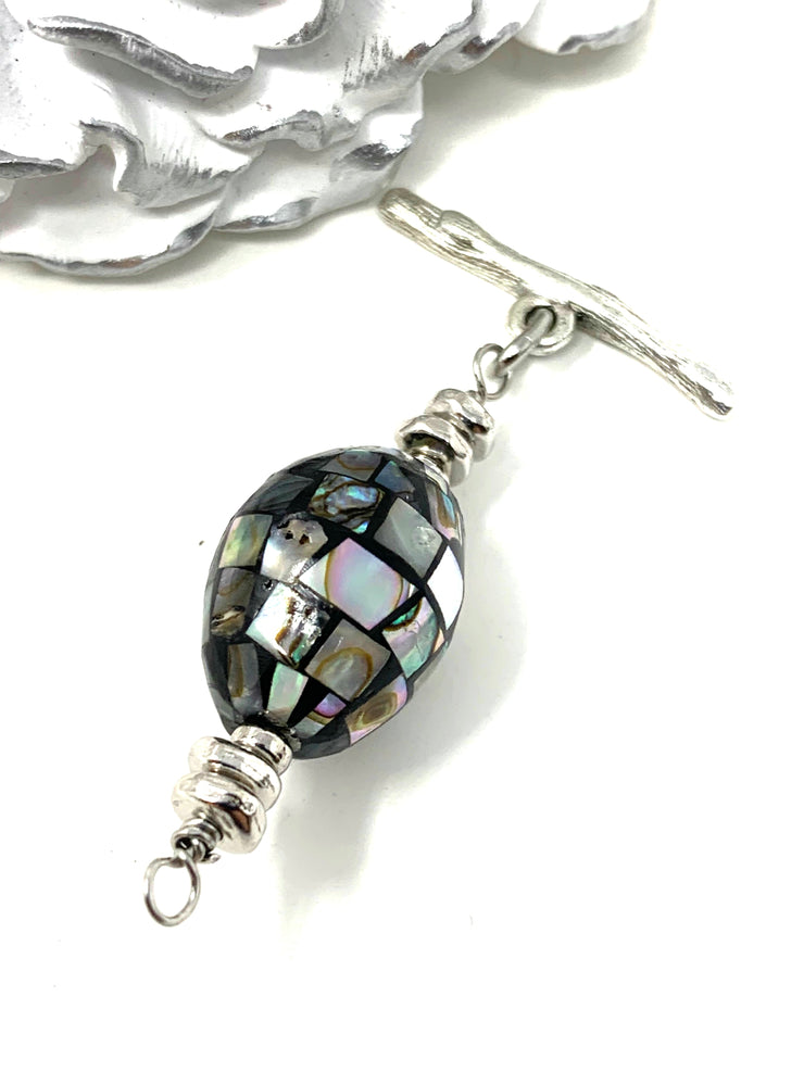 Oval Abalone Interchangeable Bracelet Pendant #3017BC - Bead Dangle Design