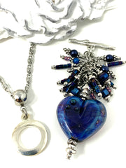 Beautiful Lampwork Glass Heart Beaded Cluster Dangle Pendant #2514D