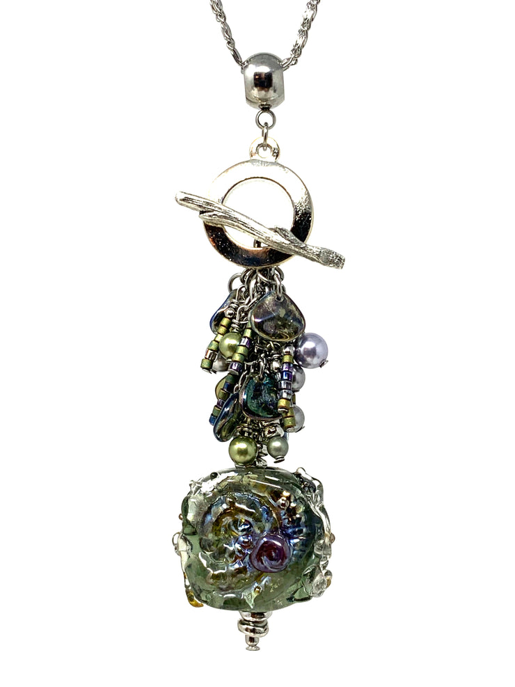 Gorgeous Metallic Green and Purple Lampwork Glass Beaded Cluster Dangle Pendant #2513D - Bead Dangle Design