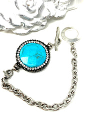Faceted Pave' Turquoise Interchangeable Bracelet Pendant #3020BC - Bead Dangle Design