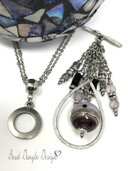 Handmade Lampwork Glass Teardrop Interchangeable Beaded Pendant #1723D,- Bead Dangle Design