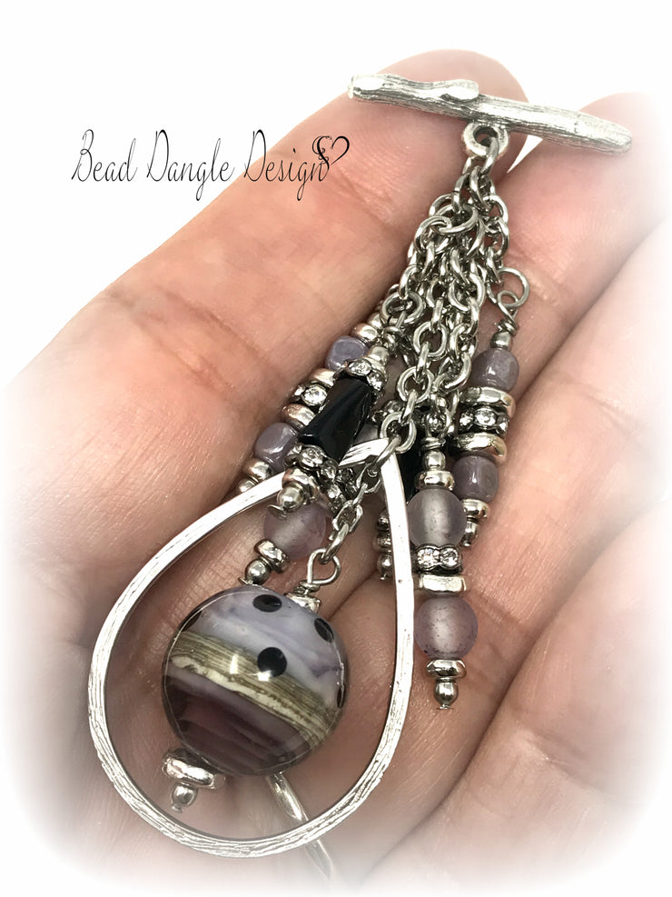 Handmade Lampwork Glass Teardrop Interchangeable Beaded Pendant #1723D - Bead Dangle Design