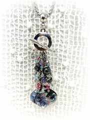 Hand Painted Enamel and Swarovski Crystal Beaded Cluster Dangle Pendant #2515D - Bead Dangle Design