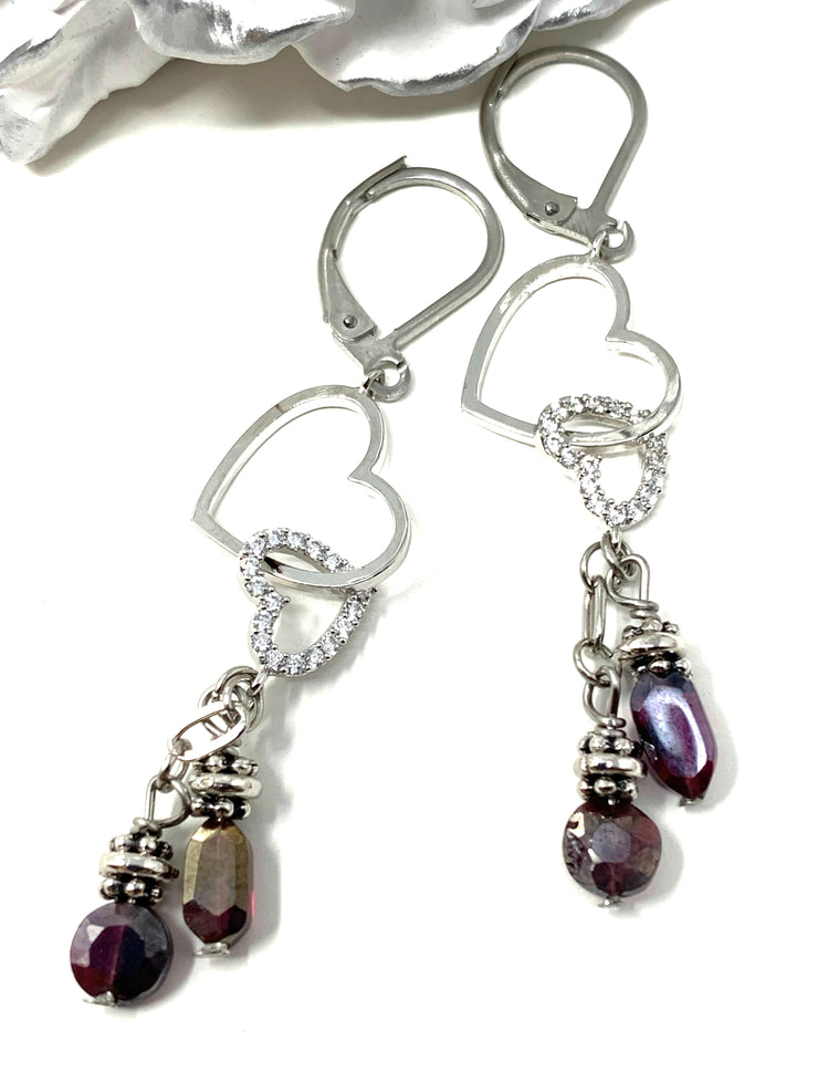 Falling Crystal and Ruby Heart Beaded Dangle Leverback Earrings #1084E - Bead Dangle Design