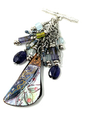 Hand Painted Enamel Floral Beaded Cluster Dangle Pendant #2517D