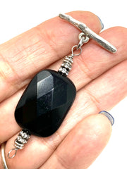 Faceted Black Onyx and Swarovski Crystal Interchangeable Bracelet Pendant #3022BC