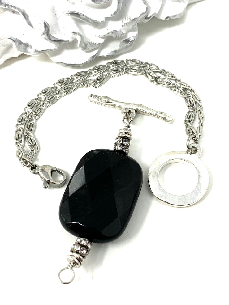 Faceted Black Onyx and Swarovski Crystal Interchangeable Bracelet Pendant #3022BC - Bead Dangle Design