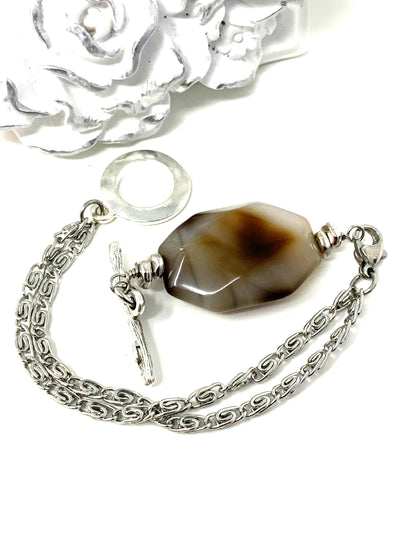 Faceted Agate Interchangeable Bracelet Pendant #3023BC