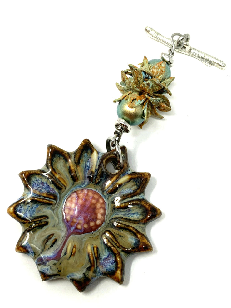Porcelain Daisy and Patina Tulip Beaded Cluster Dangle Pendant #2520D - Bead Dangle Design