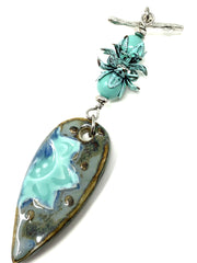 Porcelain Floral and Patina Tulip Beaded Cluster Dangle Pendant #2519D